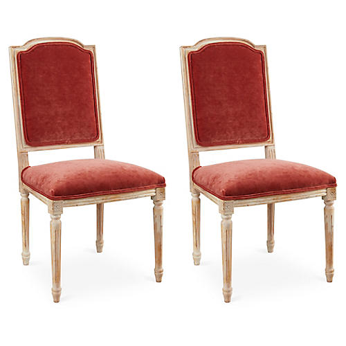 Zinnia Velvet Side Chairs, Pair