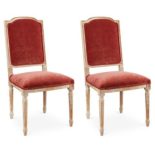 Zinnia Velvet Side Chairs, Pair