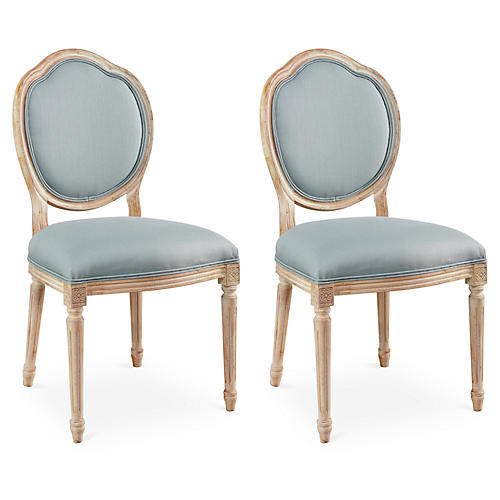 Spa Linen Louis Side Chairs, Pair