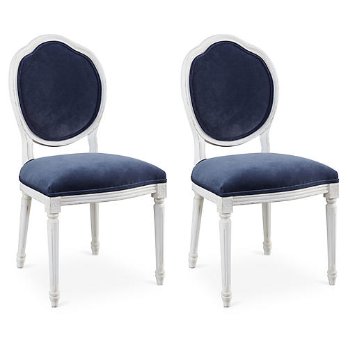 Navy Velvet Louis Side Chairs, Pair