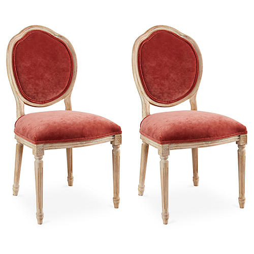 Zinnia Velvet Louis Side Chairs, Pair