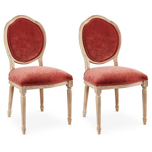 Zinnia Velvet Louis Side Chairs, Pair
