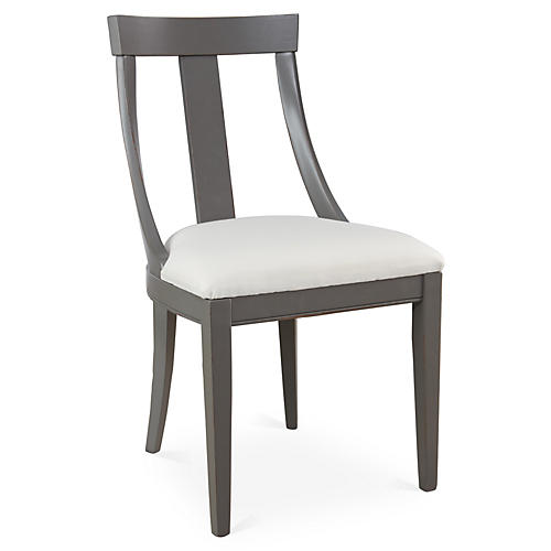 Deco Side Chair, Off-White Linen