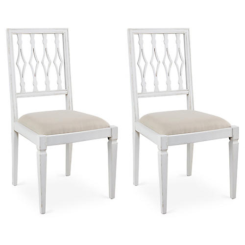 Flax Linen Avice Side Chairs, Pair