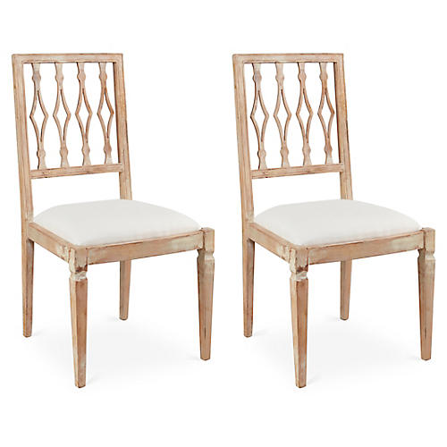 S/2 Avice Side Chairs, Ivory Linen