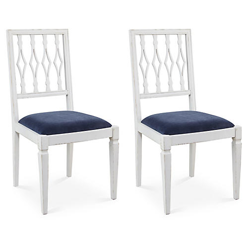 Navy Velvet Avice Side Chairs, Pair