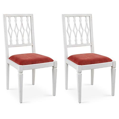 Zinnia Velvet Avice Side Chairs, Pair