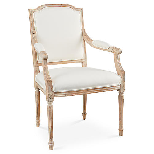 Louis Armchair, Off-white Linen