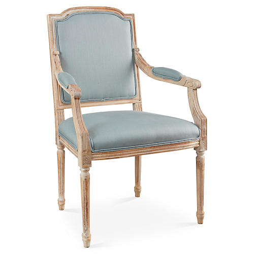 Louis II Armchair, Spa Linen