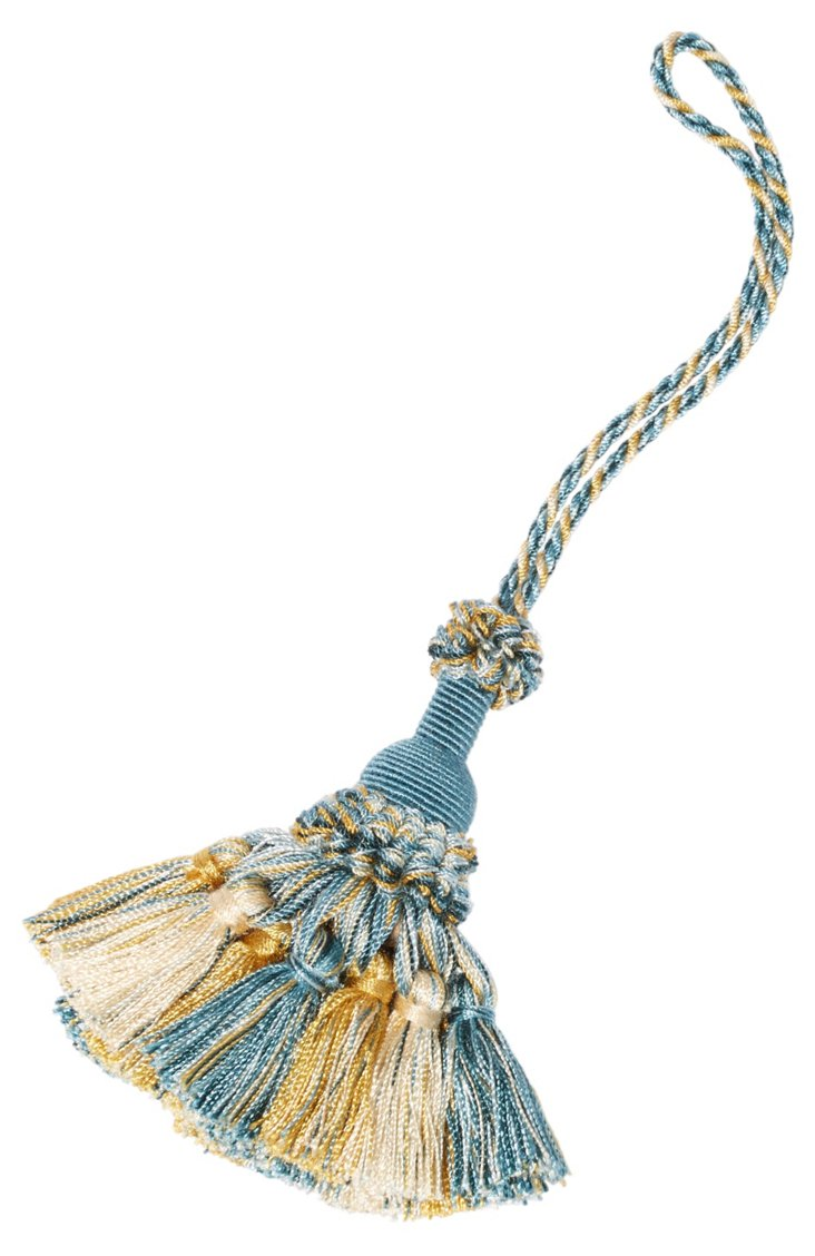 Marly Key Tassel, Light Blue/Gold/Ivory