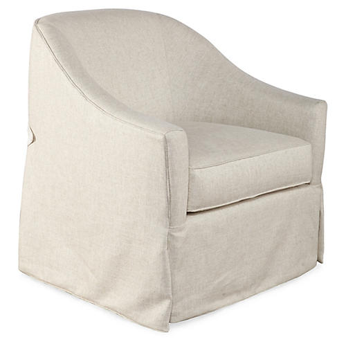 Burbank Swivel Chair, Washed Ivory