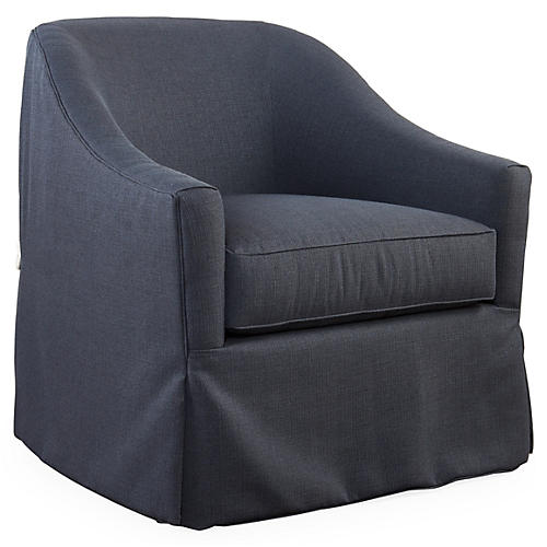 Burbank Swivel Glider Chair, Navy Crypton