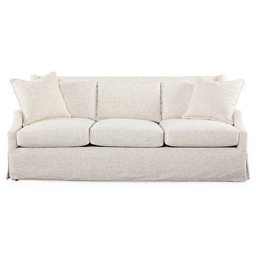 "Riviera 83"" Skirted Sofa, Ivory"