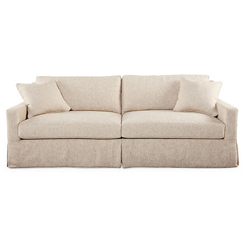 "Harbor 90"" Skirted Sofa, Sand"