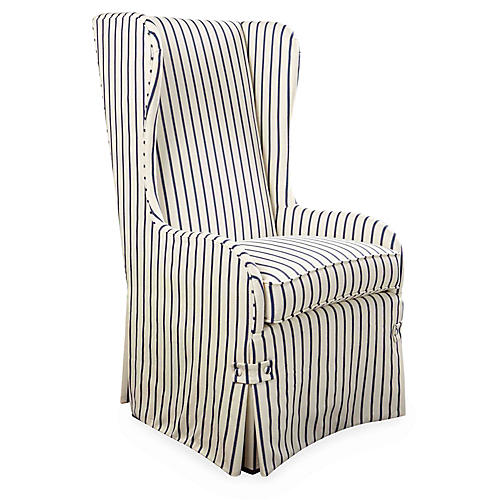 Fisher Wingback Side Chair, Navy Stripe