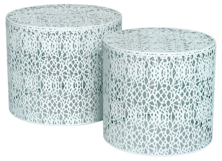 White Gould Tables, Set of 2
