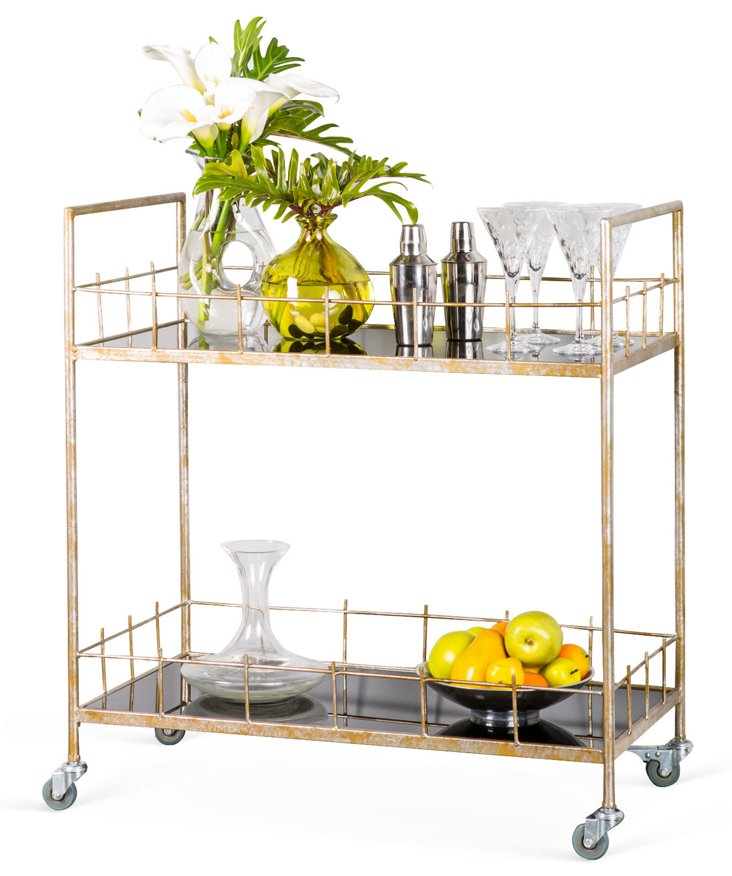 Senft Bar Cart, Distressed Gold