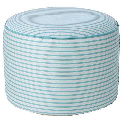 Coco Round Pouf, Glacier Blue/White Sunbrella