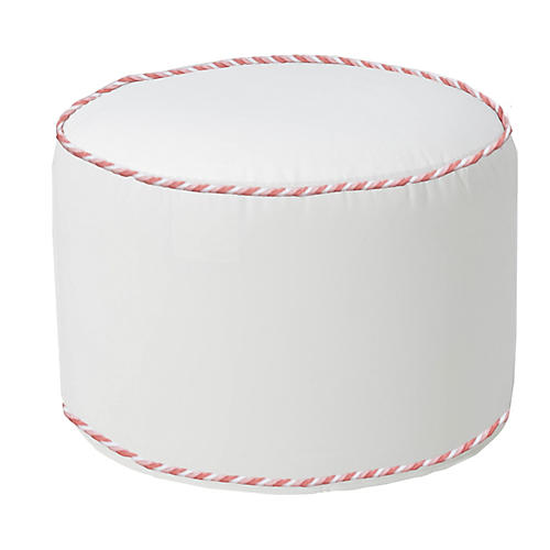 Coco Round Pouf, Pink/White