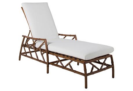 Coco Chaise, Brown/White Sunbrella