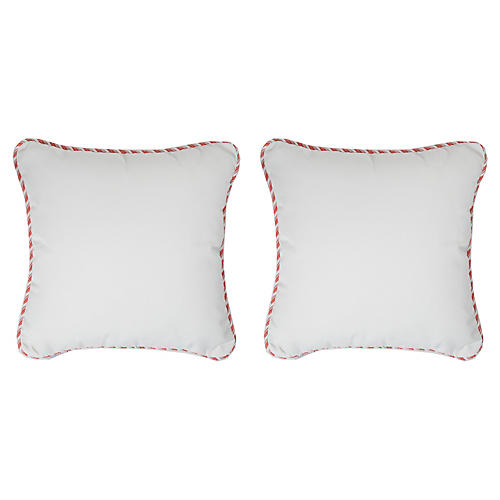S/2 Coco Cord Outdoor Pillows, White/Pink