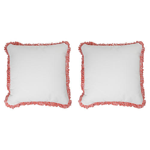 S/2 Coco Fringe Outdoor Pillows, Peony Sunbrella