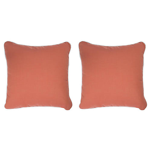 S/2 Coco Welt Outdoor Pillows, Peony Sunbrella