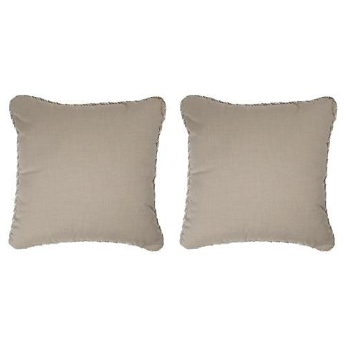 S/2 Coco Cord Outdoor Pillows, Beige Sunbrella