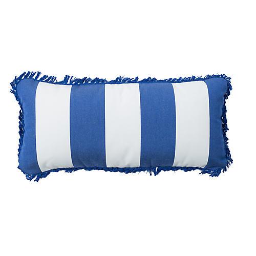 Coco 9x22 Fringe Outdoor Pillow, Cobalt Sunbrella