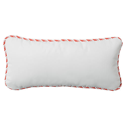 Coco 9x22 Cord Outdoor Pillow, White/Peony