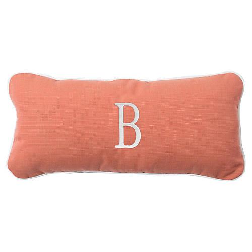 Coco Monogram Outdoor Pillow, Peony/White