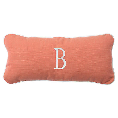 Coco Monogram Outdoor Pillow, Peony/White