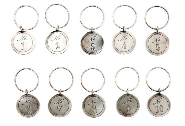S/10 Asst. Numbered Wineglass Charms