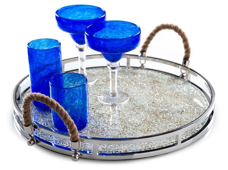 "19"" Portico Mosaic Tray, Silver"