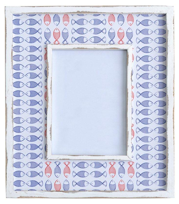 Fish Frame, 5x7, Blue/White