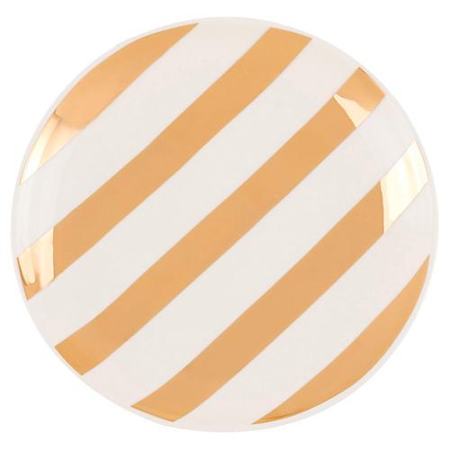 S/4 Aurora Stripe Dessert Plates, Gold