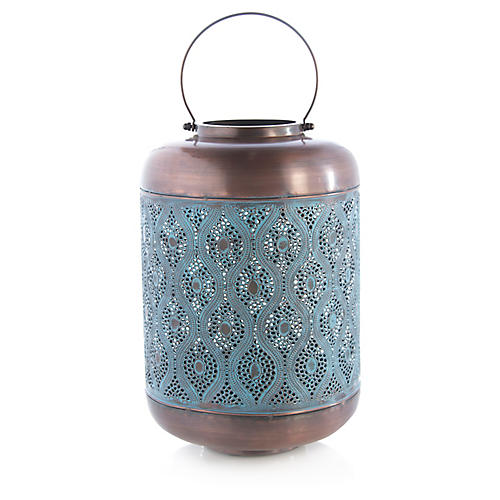 "19"" Elizabeth Large Outdoor Lantern, Denim/Copper"