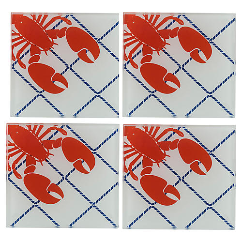 S/4 Lobster Coasters, White/Red