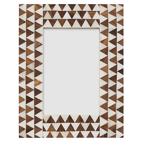 4x6 Oxford Inlay Picture Frame, Ivory/Umber