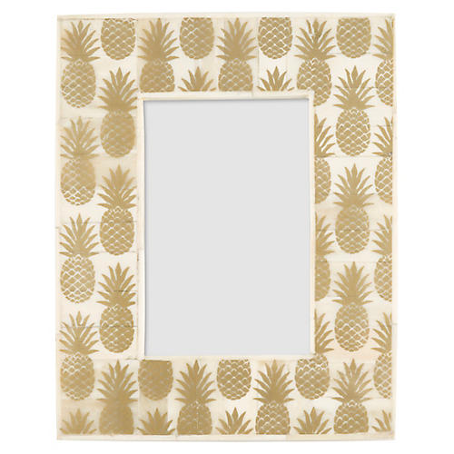 4x6 Queen Pineapple Picture Frame, Gold/Ivory