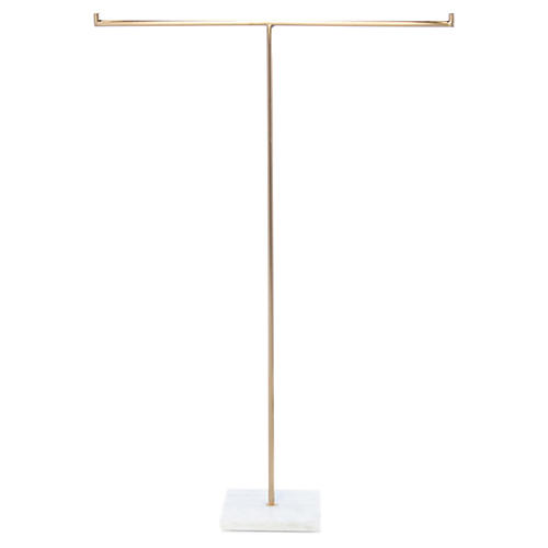 Savoy Jewelry Stand, Brass/White