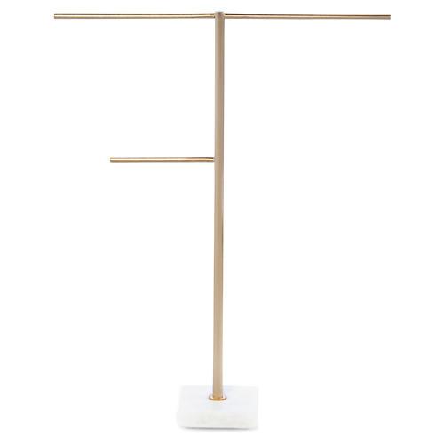 Mercer Jewelry Stand, Brass/White