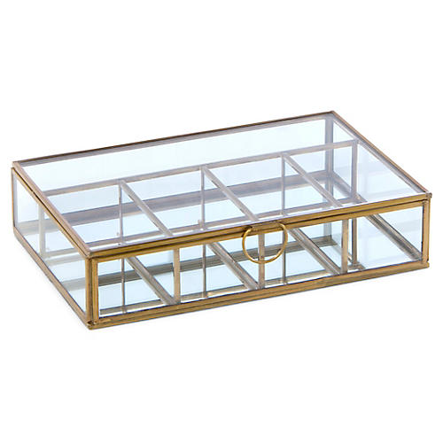 "9"" Newton 5-Compartment Box, Brass/Clear"