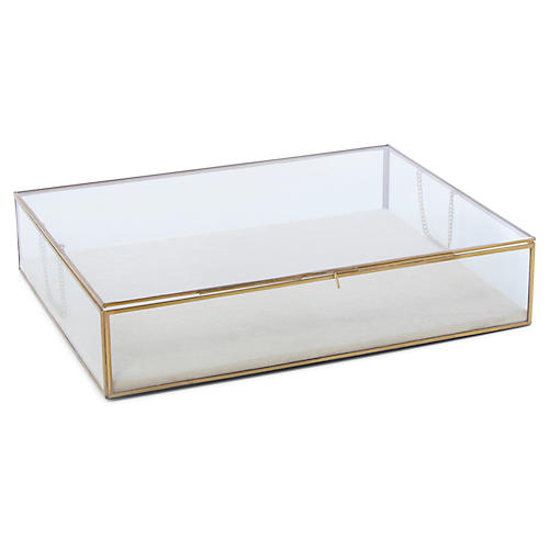 Huntley Counter Box, Brass/Frosted