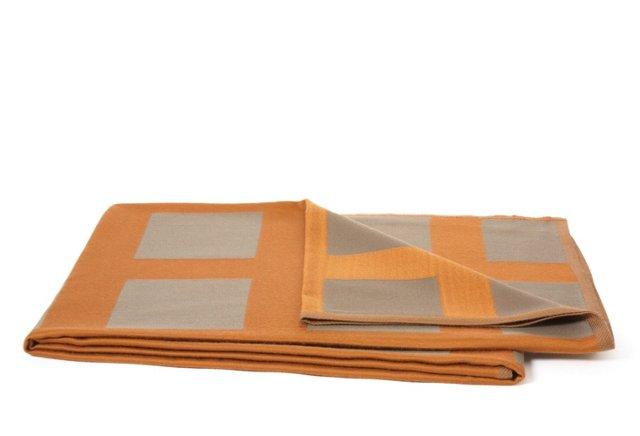 Puneh Check Throw, Orange/Taupe