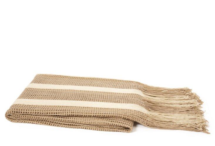Open Weave Stripe Throw, Khaki/Taupe