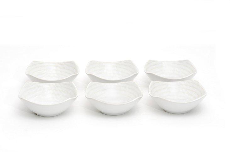 S/6 White Rice Square Fruit Bowls