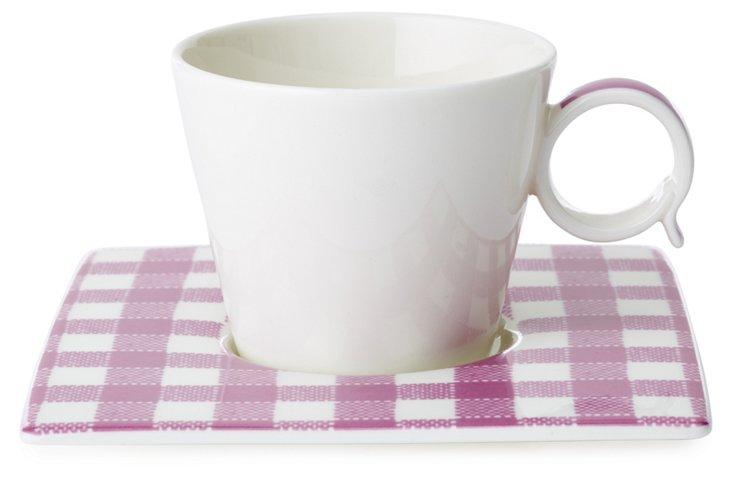 S/4 Espresso Cups & Saucers, Violet