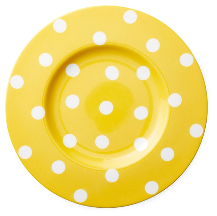 S/4 Polka Dot Salad Plates, Yellow