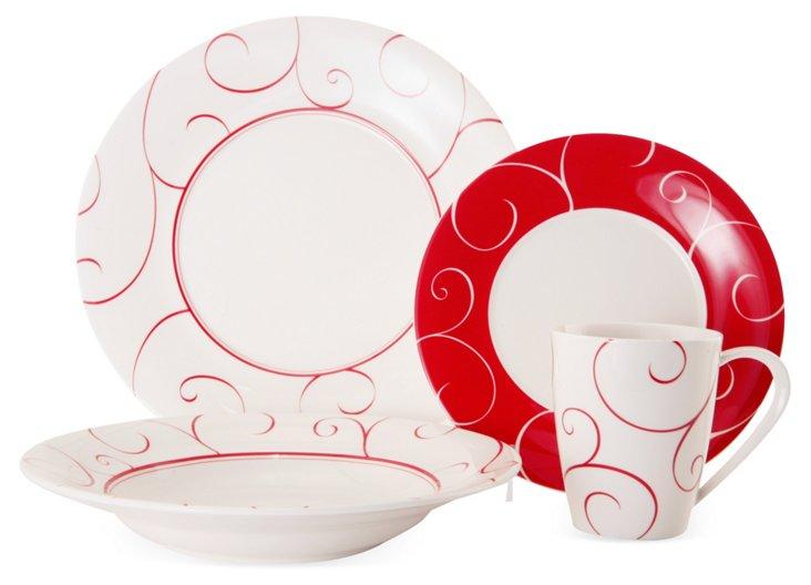 16-Pc Porcelain Panache Rouge Dinner Set